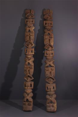 Art tribal - Poteaux dencadrement de porte Mambila