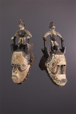 Art tribal - Paire de masques cimiers de jeune fille  Igbo