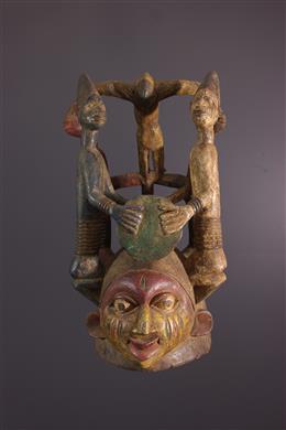 Art tribal - Masque heaume Yoruba Nago du culte Gelede