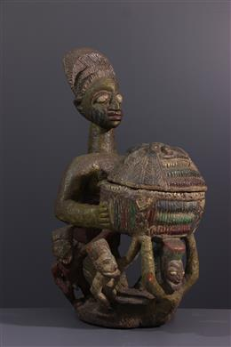 Art tribal - Porteuse de coupe Yoruba polychrome