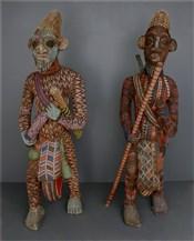 Statues africainesCouple de grands guerriers perlés Bamiléké