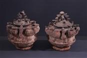 Pots, jarres, callebasses, urnesPaire de poteries Fon