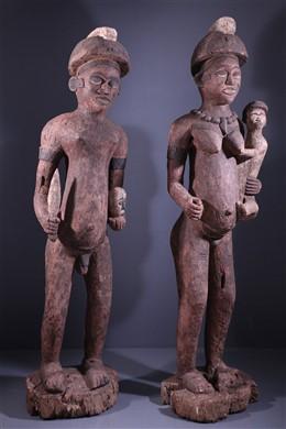 Couple de grandes statues Bembé