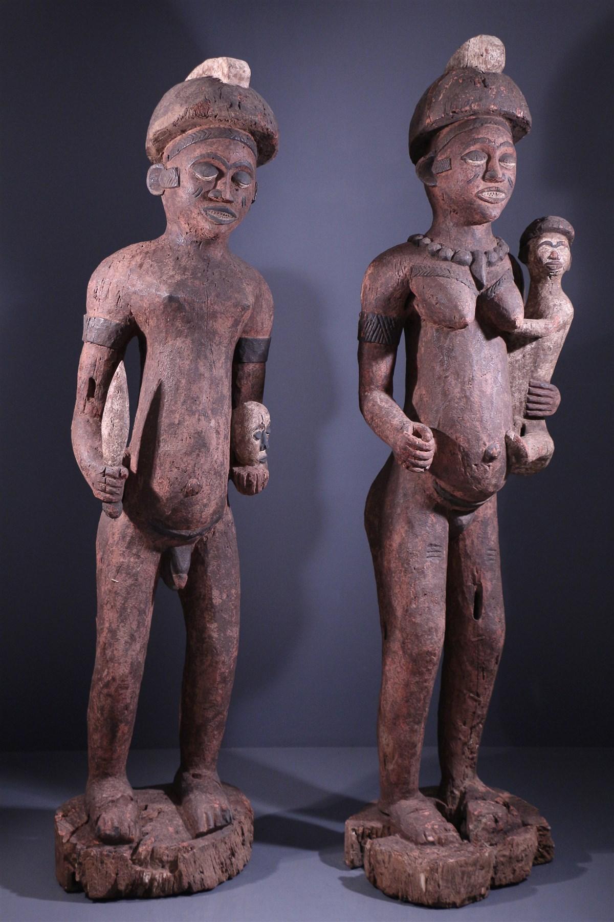 Couple de grandes statues Bembé - Art tribal